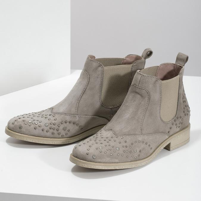 Skórzane botki zmetalowymi ćwiekami bata, szary, 596-2690 - 16
