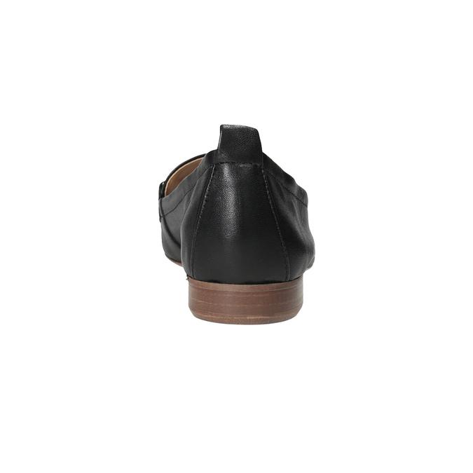 Skórzane mokasyny damskie zwędzidłami bata, czarny, 516-6619 - 15