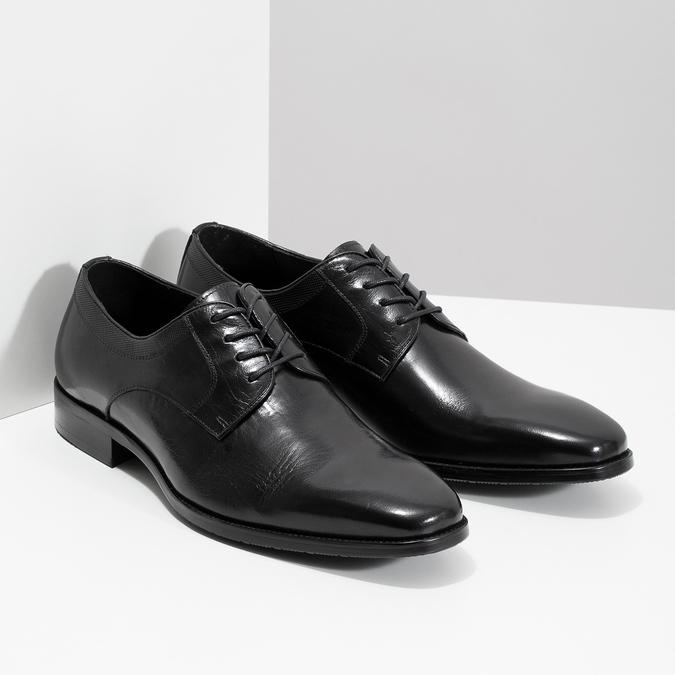 Czarne skórzane półbuty typu angielki bata, czarny, 824-6981 - 26