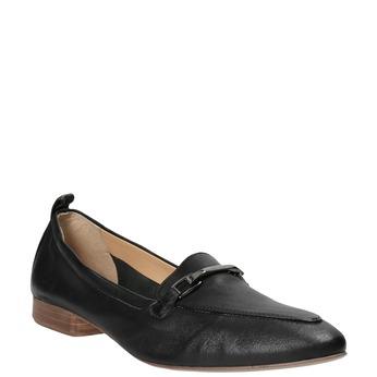 Skórzane mokasyny damskie zwędzidłami bata, czarny, 516-6619 - 13