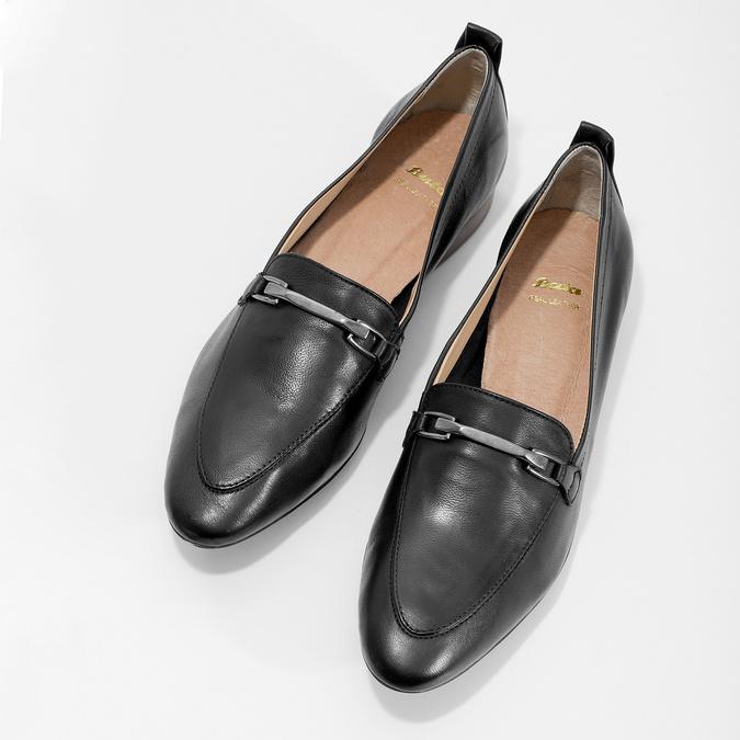 Skórzane mokasyny damskie zwędzidłami bata, czarny, 516-6619 - 16