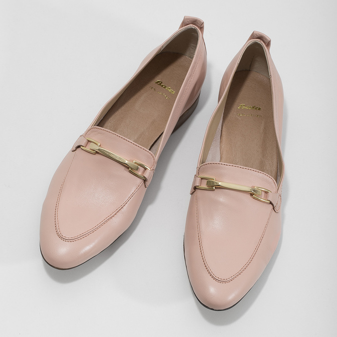 Różowe skórzane mokasyny damskie bata, 516-5619 - 16