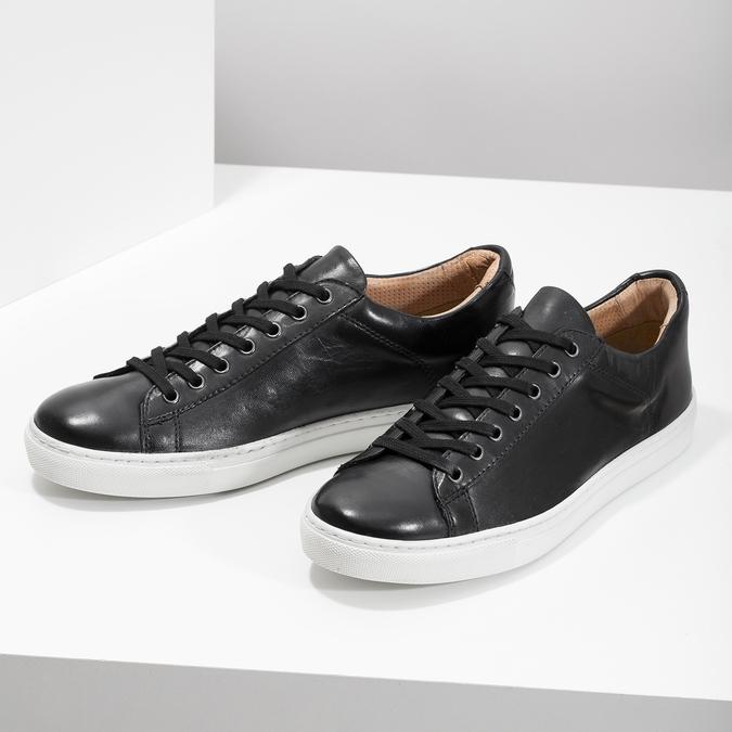 Skórzane trampki męskie bata, czarny, 844-6648 - 16