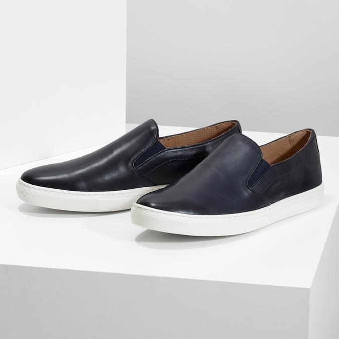 Skórzane slip-on męskie bata, niebieski, 836-9601 - 16