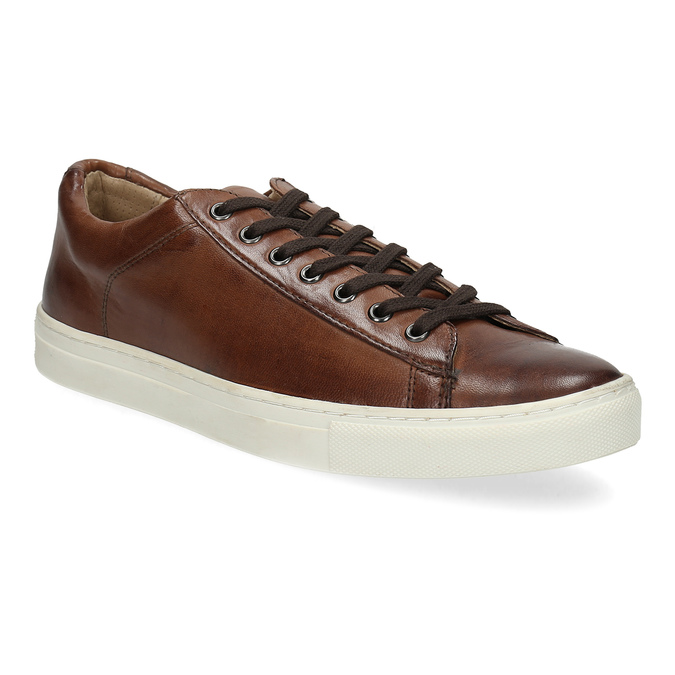 Skórzane trampki męskie bata, brązowy, 846-4648 - 13