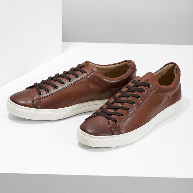 Skórzane trampki męskie bata, brązowy, 846-4648 - 16