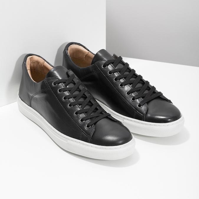 Skórzane trampki męskie bata, czarny, 844-6648 - 26