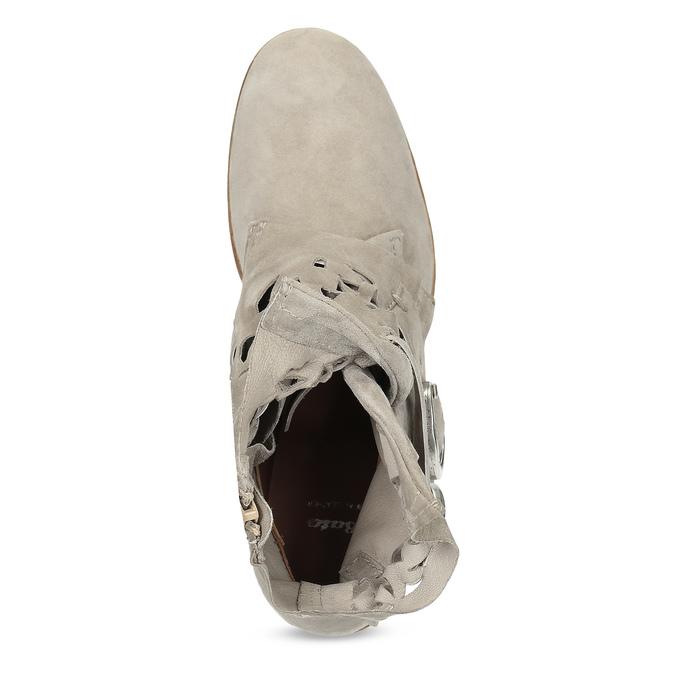 Skórzane botki zperforacją bata, szary, 596-2689 - 17