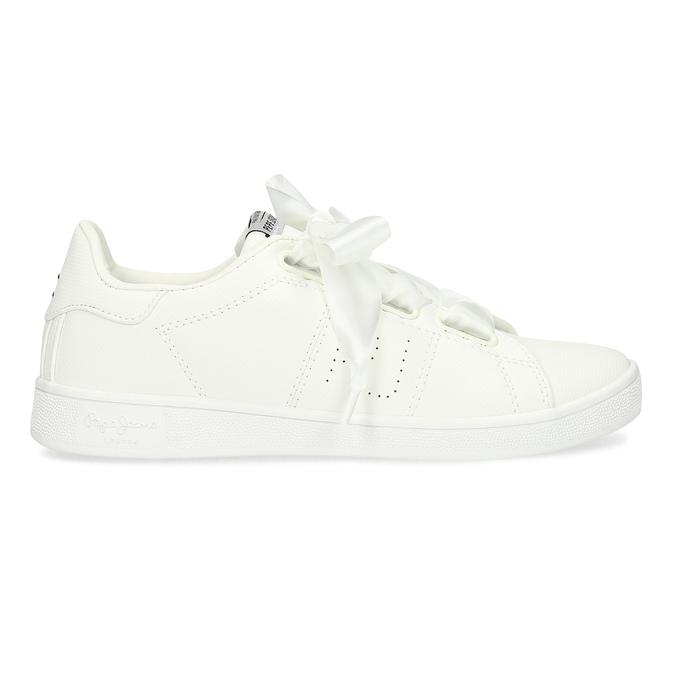 Białe trampki zsatynowymi wstążkami pepe-jeans, biały, 541-1076 - 19