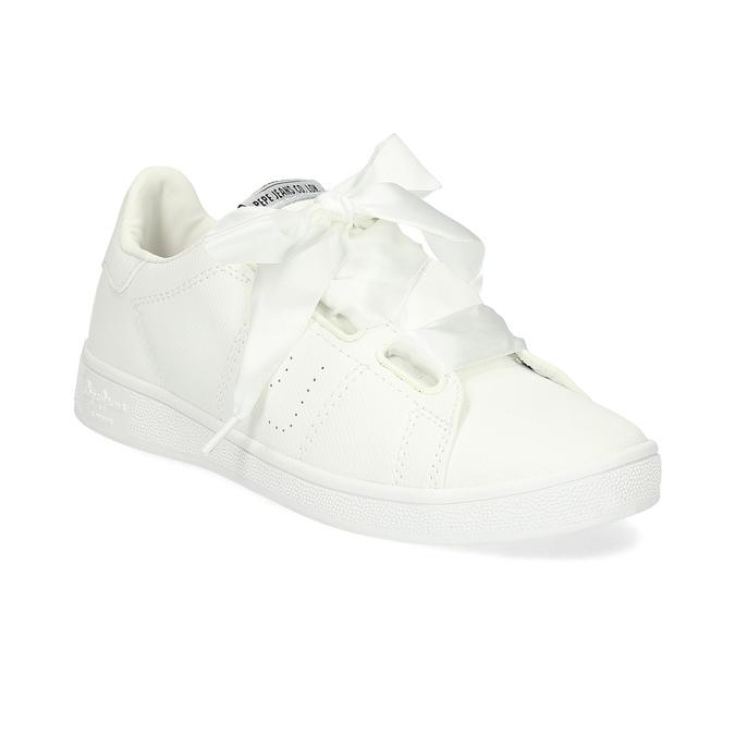 Białe trampki zsatynowymi wstążkami pepe-jeans, biały, 541-1076 - 13