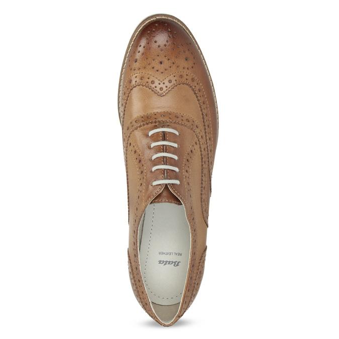 Brązowe skórzane półbuty damskie bata, brązowy, 526-3649 - 17