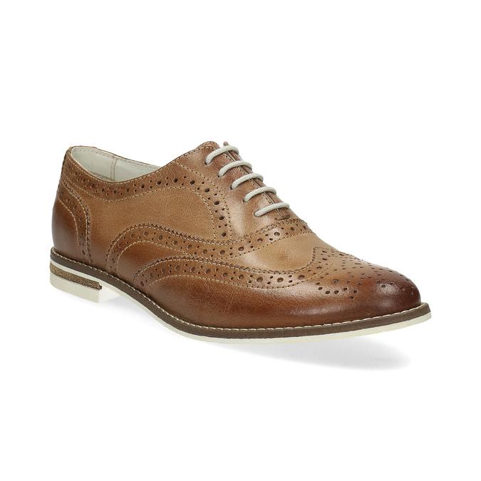Brązowe skórzane półbuty damskie bata, brązowy, 526-3649 - 13