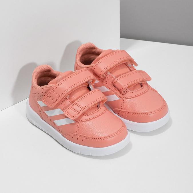 Różowe trampki dziewczęce na rzepy adidas, różowy, 101-5151 - 26