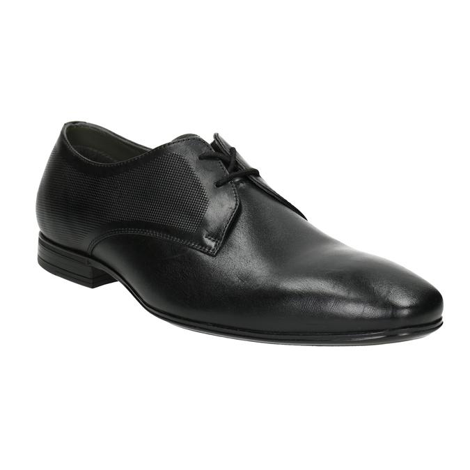 Czarne skórzane półbuty typu angielki zfakturą bata, czarny, 824-6945 - 13