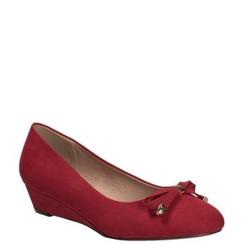 Czerwone baleriny na koturnach bata, czerwony, 629-5633 - 13