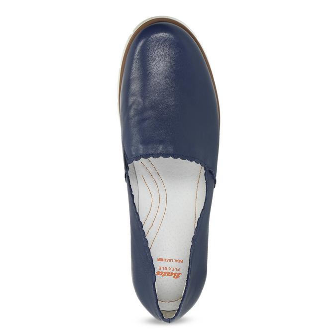 Skórzane slip-on na elastycznej podeszwie flexible, niebieski, 536-9602 - 17