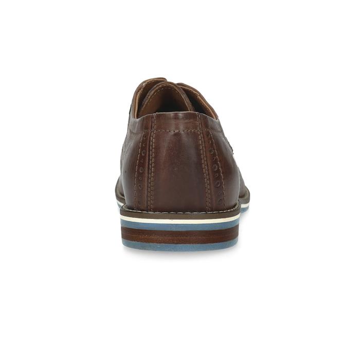 Brązowe półbuty ze skóry, zpodeszwą wpaski bata, brązowy, 826-4790 - 15