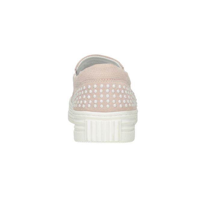 Skórzane slip-on damskie bata, różowy, 533-5600 - 16