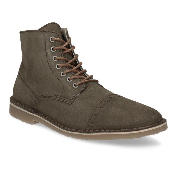 Zamszowe obuwie za kostkę bata, khaki, 823-7629 - 13
