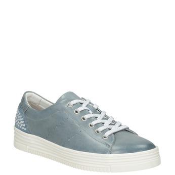 Skórzane trampki damskie zperełkami bata, niebieski, 546-9606 - 13