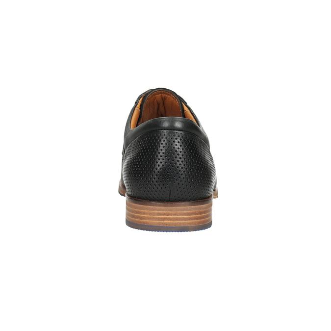 Skórzane półbuty zniebieską podeszwą bata, czarny, 824-6631 - 15