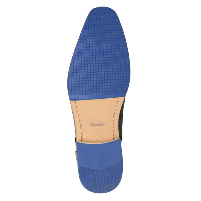Skórzane półbuty zniebieską podeszwą bata, czarny, 824-6631 - 19
