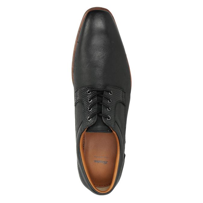 Skórzane półbuty zniebieską podeszwą bata, czarny, 824-6631 - 17