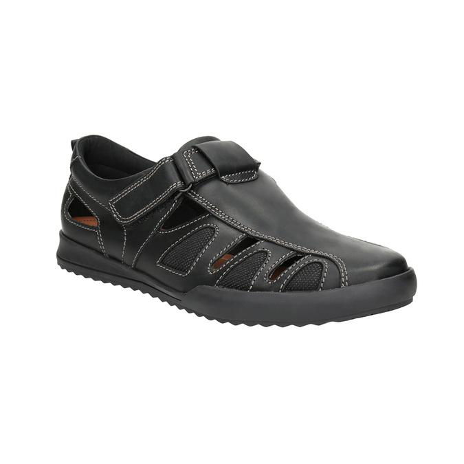 Skórzane sandały męskie zprzeszyciami comfit, czarny, 856-6605 - 13