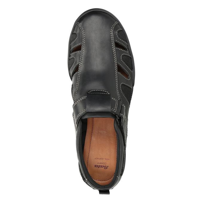 Skórzane sandały męskie zprzeszyciami comfit, czarny, 856-6605 - 17