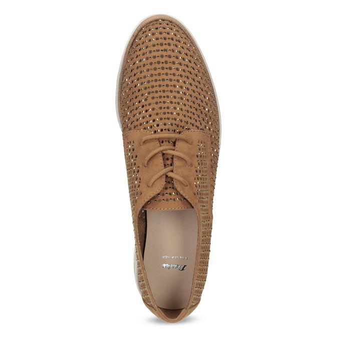 Perforowane półbuty damskie zkryształkami bata, brązowy, 529-3636 - 17