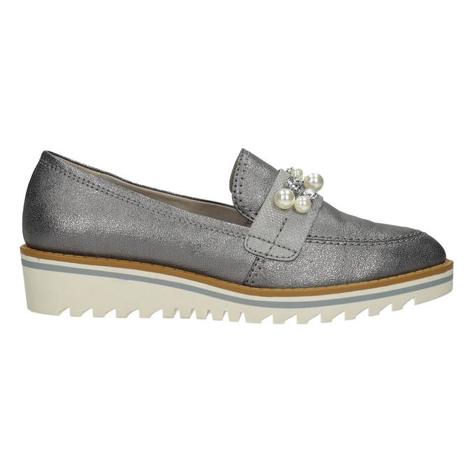 Srebrne mokasyny zperełkami bata, srebrny, 511-6610 - 16