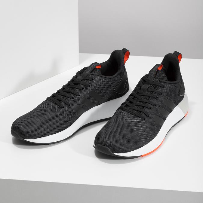 Czarne trampki męskie zpomarańczowymi detalami adidas, czarny, 809-6579 - 16