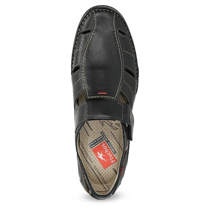 Skórzane sandały zprzeszyciami fluchos, czarny, 864-6605 - 17