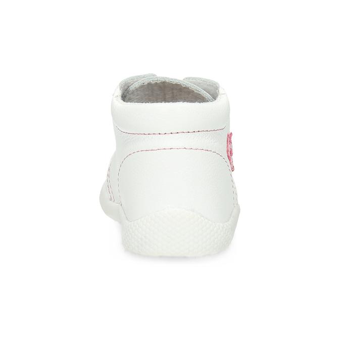 Skórzane botki dziecięce dla dziewcząt bata, biały, 124-1609 - 15