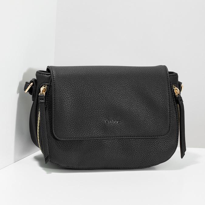 Czarna torebka typu crossbody ze złotymi zamkami błyskawicznymi gabor-bags, czarny, 961-6001 - 17
