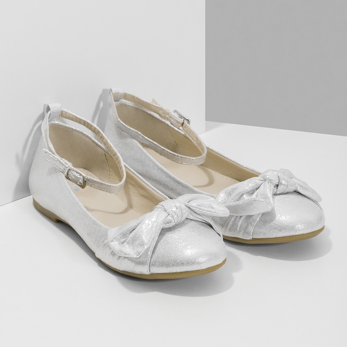 Srebrne baleriny dziewczęce zkokardami mini-b, srebrny, 329-1227 - 26
