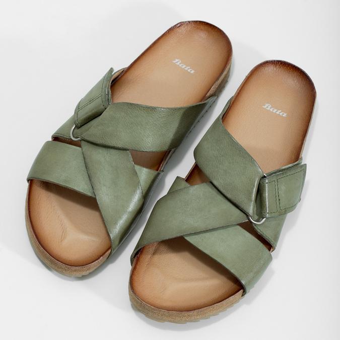 Skórzane klapki wkolorze khaki bata, khaki, 866-7647 - 16