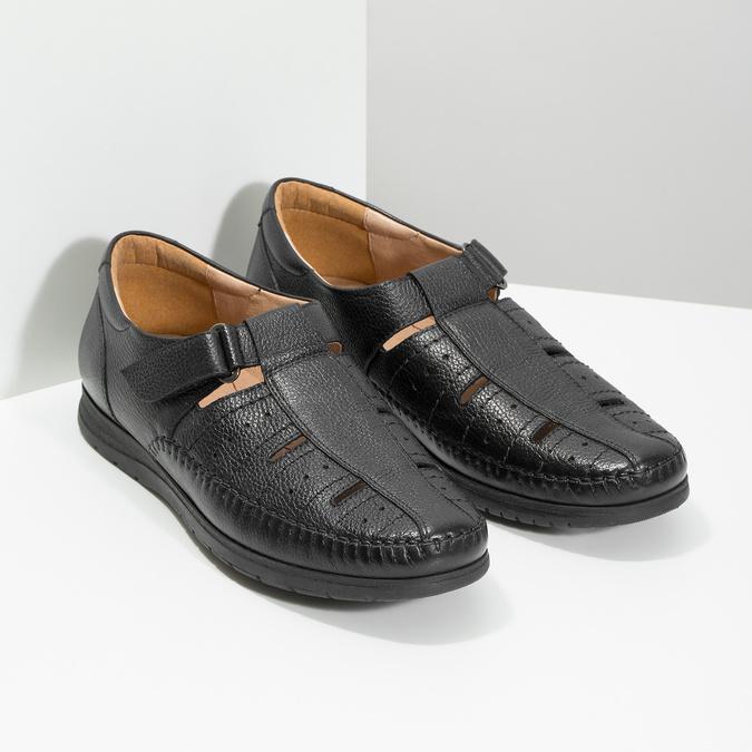 Czarne skórzane sandały męskie na wygodnej podeszwie comfit, czarny, 854-6602 - 26