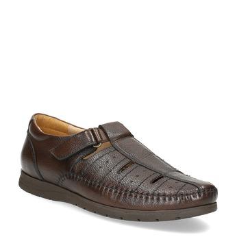 Skórzane sandały męskie na wygodnej podeszwie comfit, brązowy, 854-4602 - 13