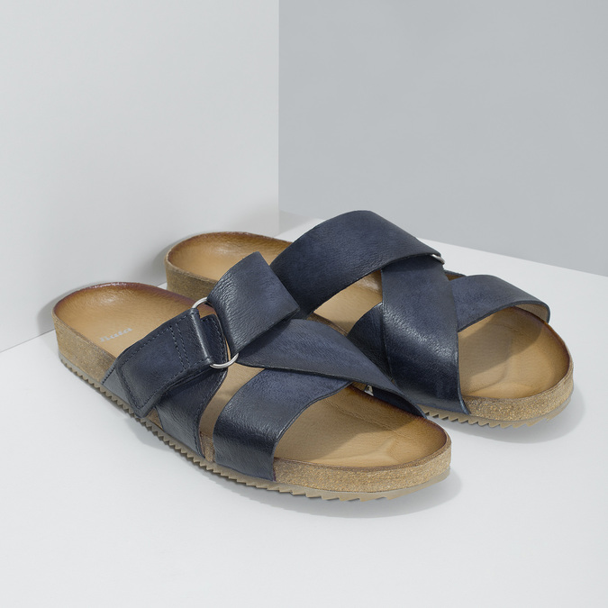 Granatowe skórzane klapki bata, niebieski, 866-9647 - 26