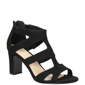 Czarne sandały na stabilnych obcasach insolia, czarny, 769-6617 - 13