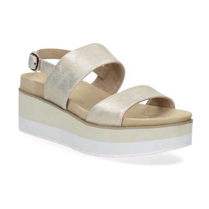Beżowe metaliczne sandały damskie na platformie bata, złoty, 761-8632 - 13