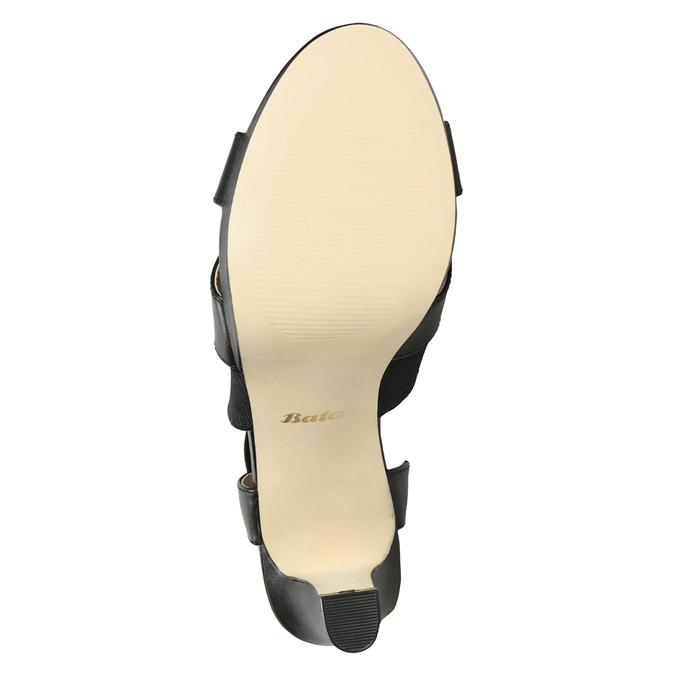 Czarne skórzane sandały na obcasach, zelastycznymi paskami insolia, czarny, 766-6606 - 19