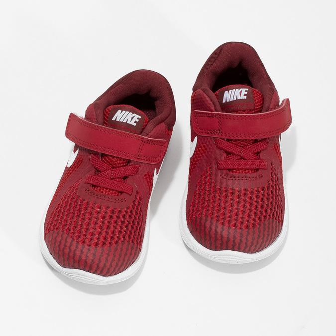 Czerwone trampki dziecięce na rzepy nike, czerwony, 109-5179 - 16
