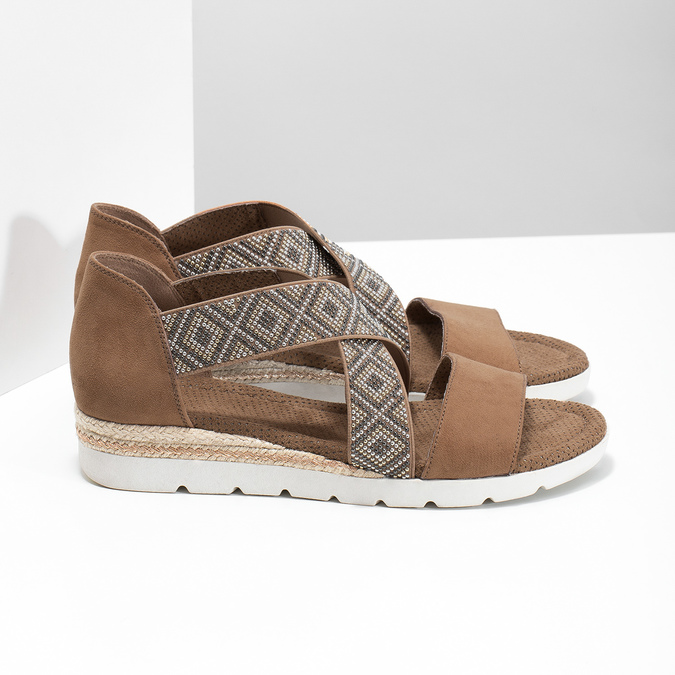 Brązowe sandały zwzorem bata, czarny, 569-6616 - 16
