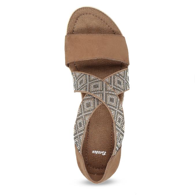 Brązowe sandały zwzorem bata, czarny, 569-6616 - 17