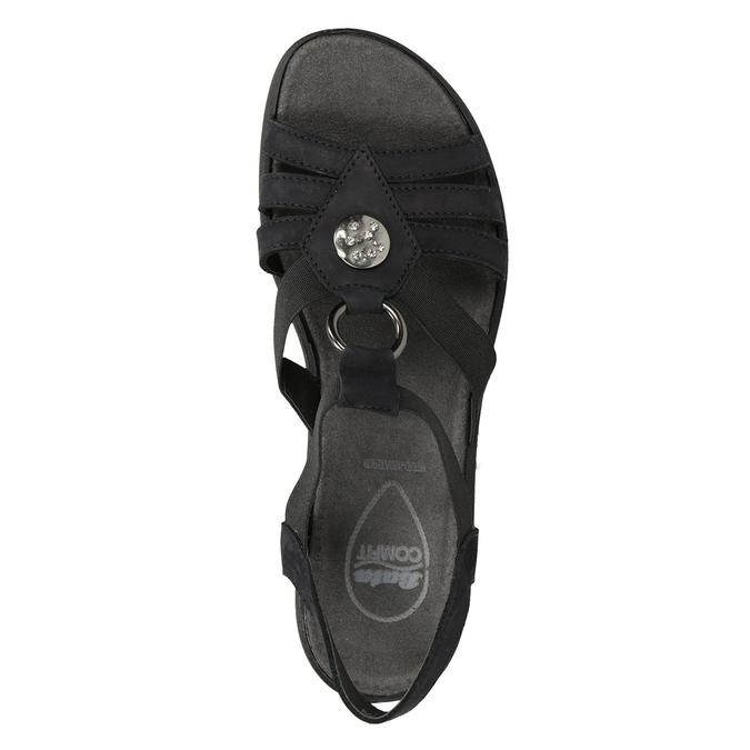 Czarne skórzane sandały damskie comfit, czarny, 666-6619 - 17