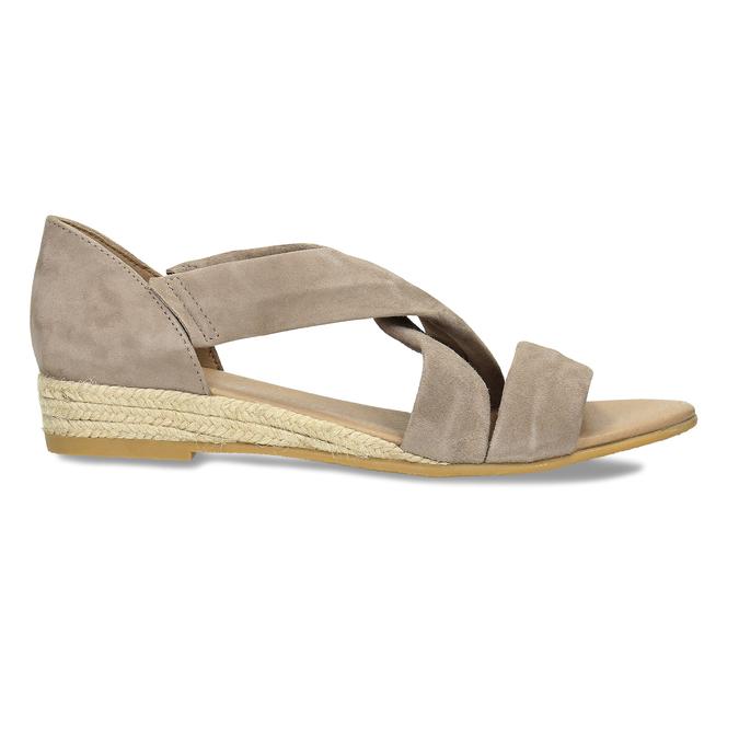 Skórzane sandały na koturnach bata, brązowy, 563-4600 - 19