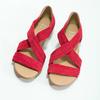 Czerwone skórzane sandały na koturnach bata, czerwony, 563-5600 - 16