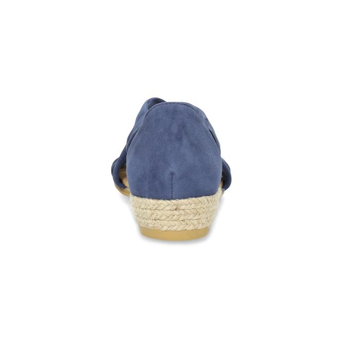 Niebieskie skórzane sandały na koturnach bata, niebieski, 563-9600 - 15